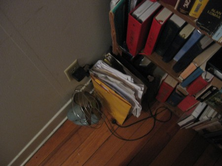 a cluttered corner in the office